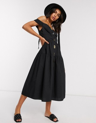 Asos DESIGN cotton poplin off shoulder midi sundress with mixed buttons in black