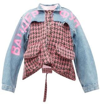 Natasha Zinko Houndstooth And Denim Panelled Jacket - Womens - Pink Multi