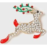 Dorothy Perkins Womens Gold Christmas Reindeer Brooch- Multi Colour