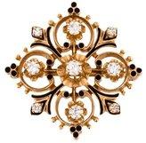 14K Diamond & Enamel Convertible Brooch Pendant