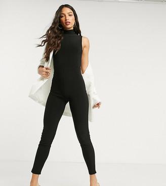 Club L London Tall slinky sleeveless catsuit in black