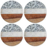 Thirstystone 4-Pc. Granite, Marble and Wood Round Coaster Set