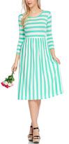Mint & White Stripe Three-Quarter Sleeve Dress