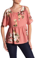 Bobeau Peplum Floral Cold Shoulder Shirt