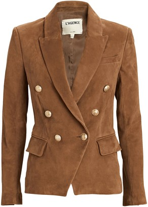 L'Agence Kenzie Double-Breasted Suede Blazer