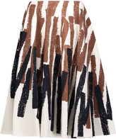 Marni Pleated printed cotton and linen-blend skirt