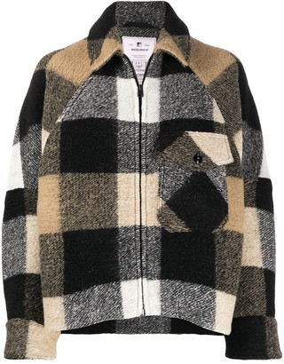 Woolrich Check Zipped Coat
