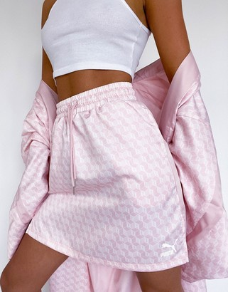 Puma satin skirt in pink with side splits