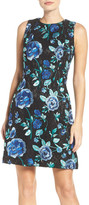 Eliza J Embroidered Fit & Flare Dress (Petite)