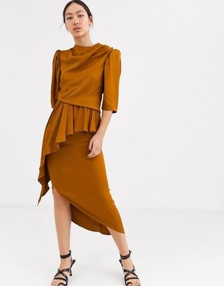 Asos high neck ruched asymmetric dress
