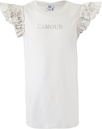 River Island Girls Cream 'L'amour' sequin sleeve T-shirt