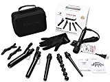 PARWIN PRO 5 in 1 Curling Iron Wand Set with 5 Interchangeable Diamond Tourmaline Ceramic Curl Iron Barrels-Dual Voltage Hair Curler Iron with Glove and Travel Case