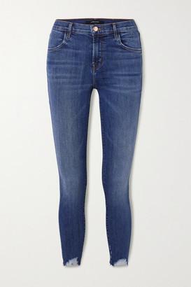 J Brand Alana Distressed High-rise Skinny Jeans - Mid denim