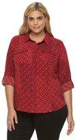 Dana Buchman Plus Size Roll-Tab Camp Shirt