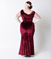 Unique Vintage Plus Size 1930s Style Burgundy Red Sleeveless Velvet Goldwyn Gown