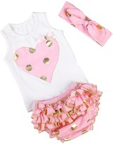 Messy Code Baby Girls Outfit Sweet Gold polka dot Baby Briefs Set with Headband 18 Months
