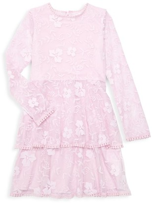 Bardot Junior Girl's Textured Floral Long Sleeve Flare Dress