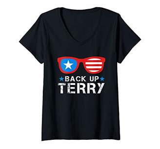 Womens Back Up Terry American Flag USA 4th Of July Sunglasses Gifts V-Neck T-Shirt