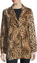Joan Vass Leopard-Print Faux-Fur Blazer