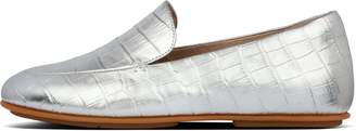 FitFlop Lena Croc-Embossed Metallic Leather Loafers