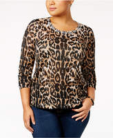 INC International Concepts Plus Size Animal-Print Jeweled Sweater, Created for Macy's