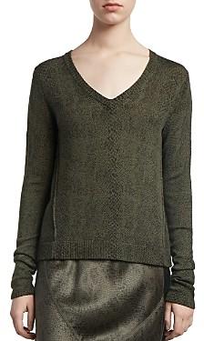ATM Anthony Thomas Melillo Snakeskin-Print V-Neck Sweater