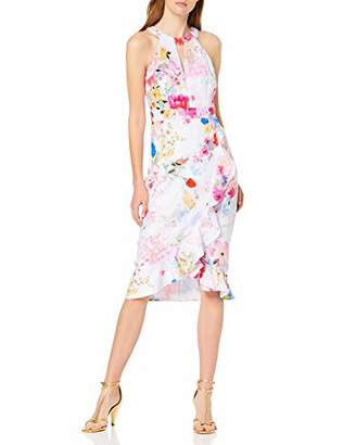 Dorothy Perkins Women's Romy Print Ruffle Detail Dress Party, Off-Size: