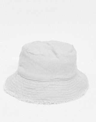 ASOS DESIGN canvas bucket hat in grey