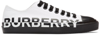 Burberry White and Black Larkhall M Logo Sneakers