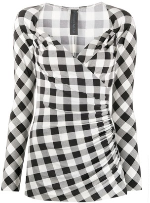 Norma Kamali Gingham-Print Wrap-Effect Blouse