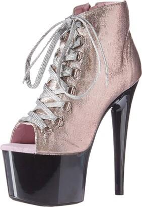 Ellie Shoes Women's Zaylee Glitter Fabric Peeptoe Platform Ankle Boot