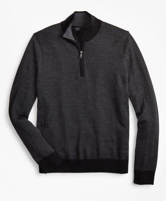 Brooks Brothers Washable Merino Wool Herringbone Half-Zip
