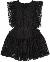 Little Remix Ruffle-Detailed Lace Dress-BLACK