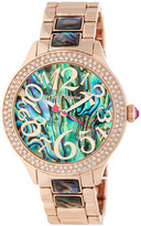 Betsey Johnson Women's Crystal Bezel Abalone Shell Bracelet Watch