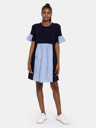 ENGLISH FACTORY Knit Stripe Woven Mixed Dress