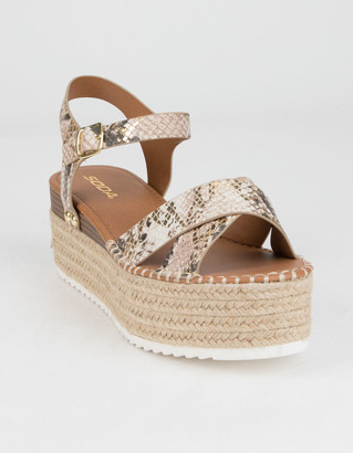 Soda Sunglasses High Ankle Strap Womens Snake Flatform Sandals