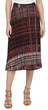DKNY Plaid Pleated Midi Skirt