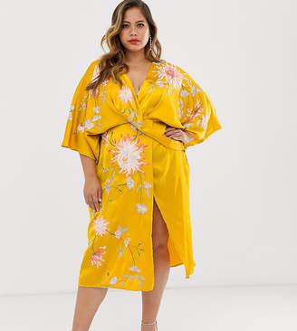 Asos DESIGN Curve satin kimono midi dress with floral embroidery-Multi