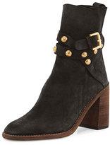 See by Chloe Janis Suede Block-Heel Boot, Asphalt/Charcoal