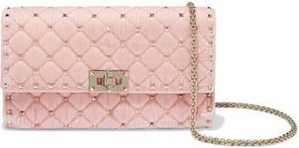 Valentino Rockstud Spike Quilted Velvet Shoulder Bag