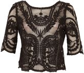 Izabel London Embroidered Mesh Top