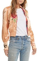 Free People Women's Just Peachy Silk Bomber Jacket