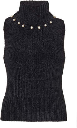 STAUD Floyd Pearl-Embellished Knitted Top