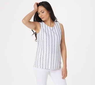 Susan Graver Fully Lined Stretch Lace Sleeveless Top
