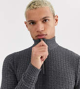 Asos Design ASOS DESIGN Tall textured half zip jumper in charcoal