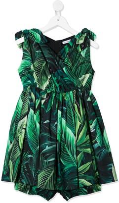 Dolce & Gabbana Kids Leafy Print Dress