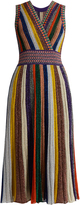 Missoni V-neck striped pleated knit dress