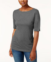 Karen Scott Cotton Button-Shoulder Top, Created for Macy's