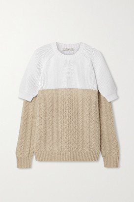 Tibi Layered Two-tone Cable-knit Cotton And Wool-blend Sweater - Sand