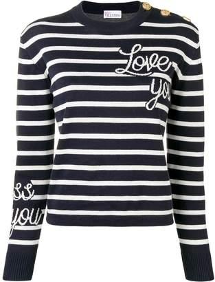 RED Valentino love you striped jumper